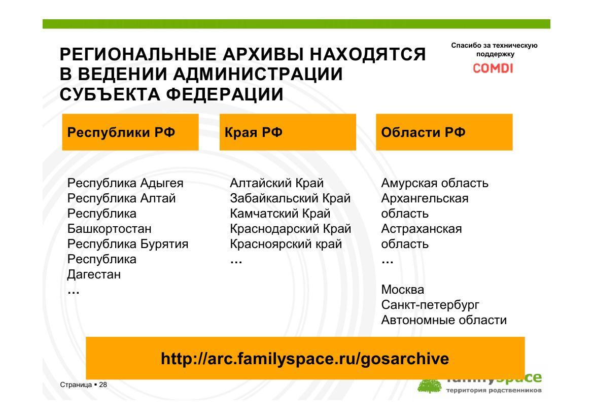 Региональные архивы находятся в ведении администрации субъектов Российской федерации