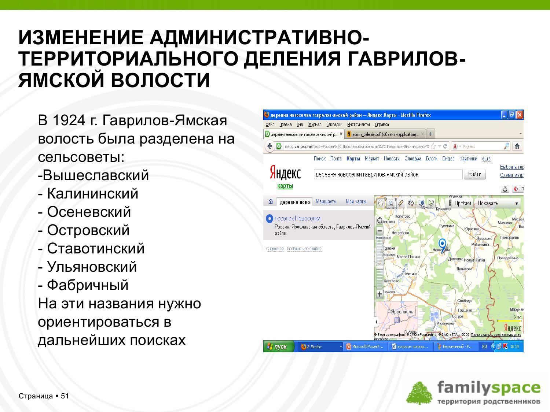 Изменение административно-территориального деления Гаврилов-Ямской волости