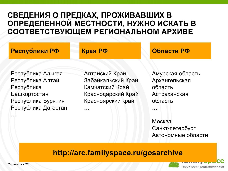 Сведения о предках, проживавших в определённой местности, нужно искать в соответствующем региональном архиве
