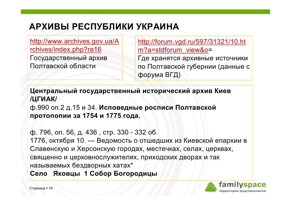 Метрические книги и исповедные ведомости в архивах Украины