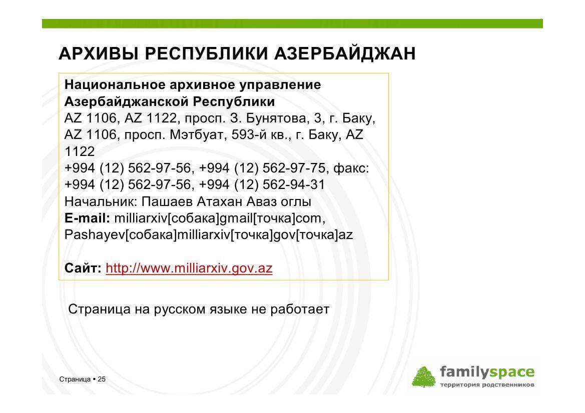 Архивы республики Азербайджан