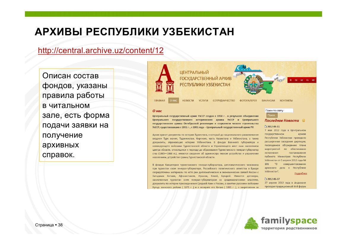 Центральный архив республики Узбекистан