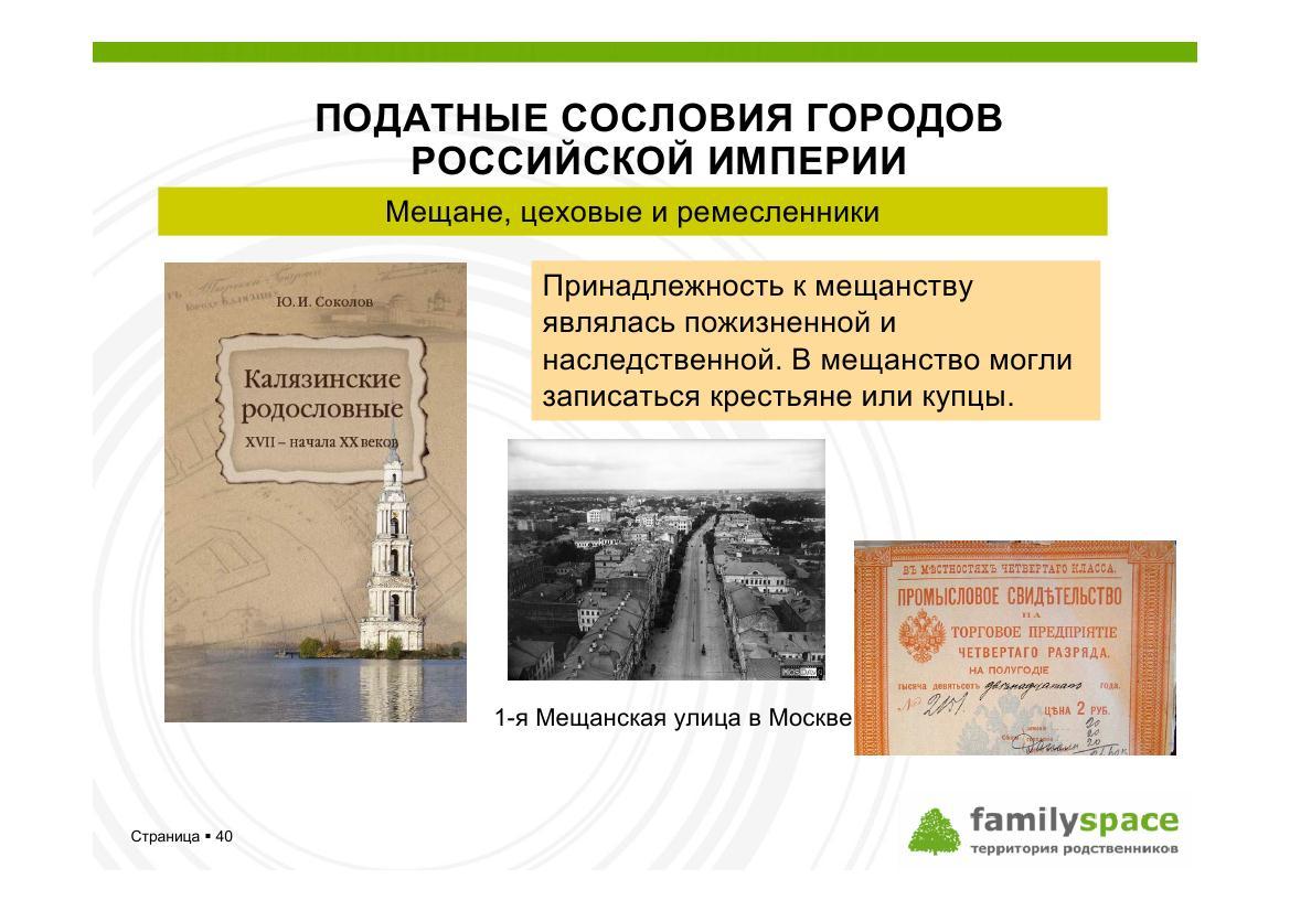 Податные сословия городов Российской империи