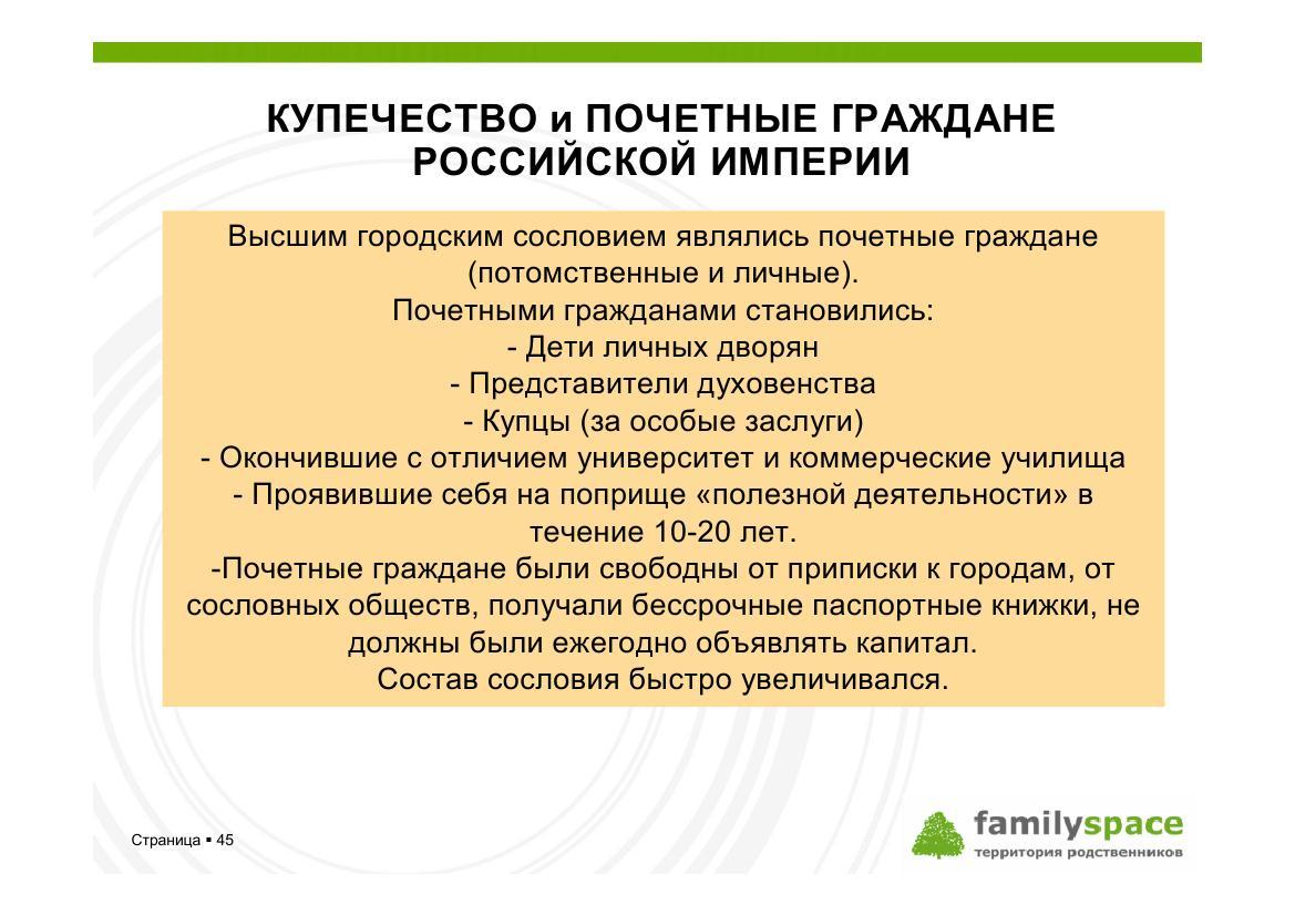 Купечество и почетные граждане Российской империи
