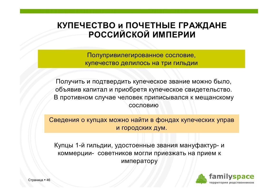 Купеческое сословие Российской империи